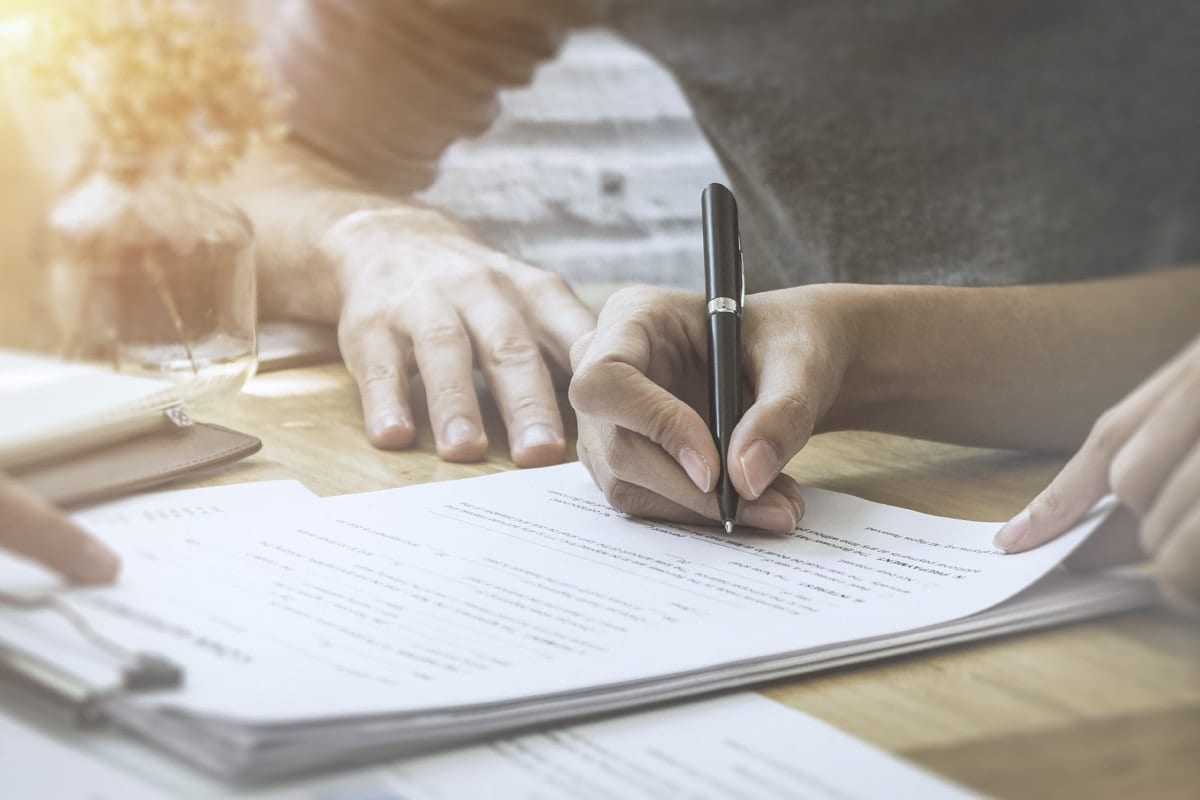 Signing documents involving legal matters